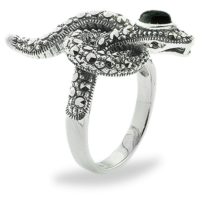 Oxidized Snake Marcasite Ring with Onyx
