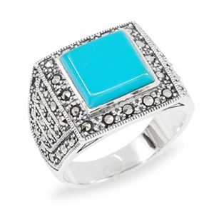 Square Turquoise with Halo & Marcasite Cluster Signet Men Ring001
