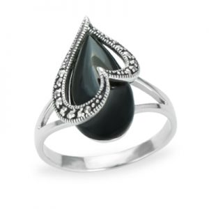Oxidized Snake Marcasite Ring with Onyx 02