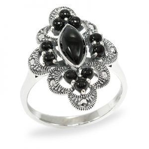 Oxidized Snake Marcasite Ring with Onyx 03